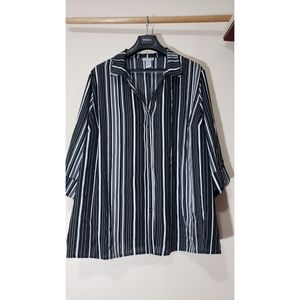 Catherine's Black/White Striped Shirt Sz 3X